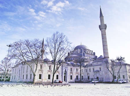 View of Bayezid Square and  Bayezid II Mosque in istanbul, Turkey Stock Photo