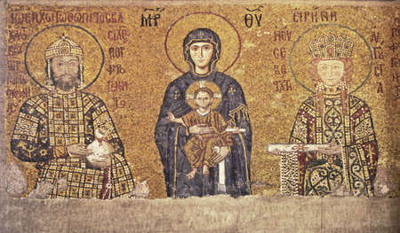 Byzantine mosaic of 13th century in Hagia Sophia in Istanbul, Turkey
