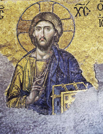 Mosaic of Jesus Christ in the old church of Hagia Sophia in Istanbul, Turkey.