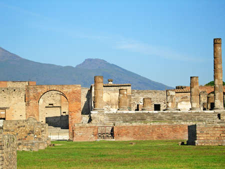Ancient ruins of Pompeii and volcano Vesuvius, Italy