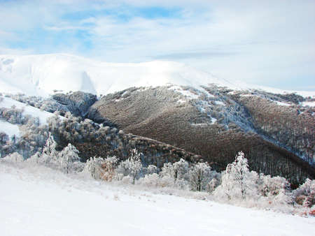 Scenic landscape in mountain and snow photo