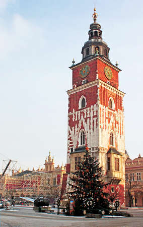 crown spire: Gothic town hall tower in Krakow in December