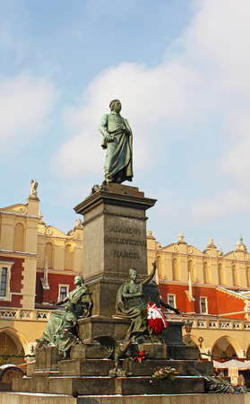 Adam Mickiewicz Monument in Front of the Cloth House in the Main Market Square of the Old Town in Krakow, Poland