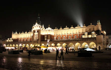 Beautiful old Sukiennice on the Krakow main square at night, Poland