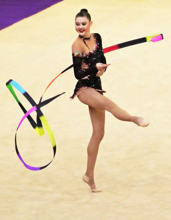 KYIV, UKRAINE - MARCH 18: Alina Maksymenko (Ukraine) performs at Deriugina Cup (Rhythmic Gymnastics World Cup) on March 18, 2012 in Kyiv, Ukraine Editorial