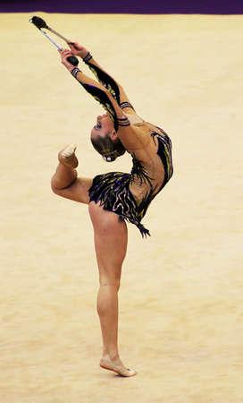 KYIV, UKRAINE - MARCH 18: Chrystalleni Trikomiti (Cyprus) performs at Deriugina Cup (Rhythmic Gymnastics World Cup) on March 18, 2012 in Kyiv, Ukraine  Editorial