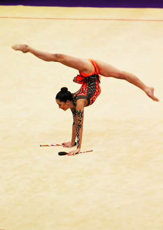 KYIV, UKRAINE - MARCH 18, 2012: Neta Rivkin from Israel performs during Deriugina Cup (Rhythmic Gymnastics World Cup) on March 18, 2012 in Kyiv, Ukraine  Editorial