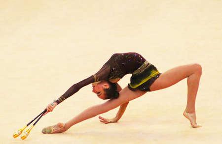 KYIV, UKRAINE - MARCH 18: Victoria Mazur (Ukraine) performs at Deriugina Cup (Rhythmic Gymnastics World Cup) on March 18, 2012 in Kyiv, Ukraine