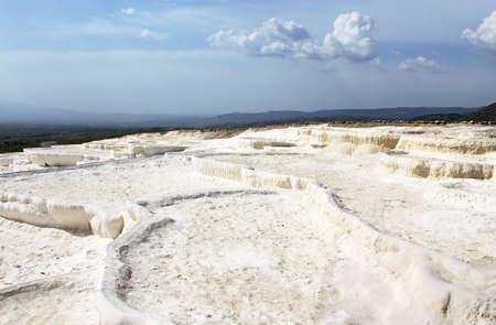 Famous travertine terraces in Pamukkale (ancient Hierapolis), Anatolia, Turkey photo