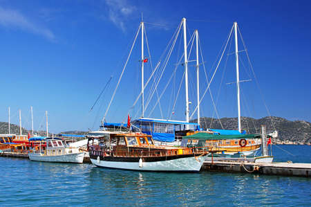 Moored yachts, near Kekova island, Turkey photo