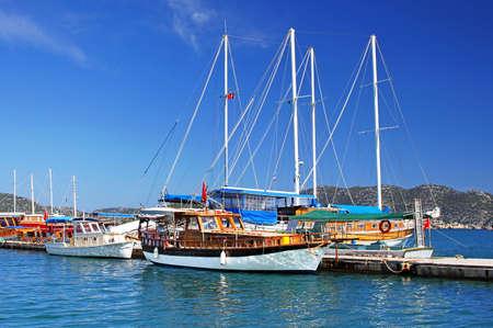 Moored yachts, near Kekova island, Turkey Stock fotó