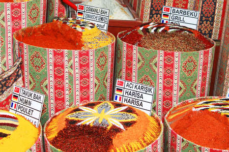 Spices bags on spice bazaar in Turkey photo