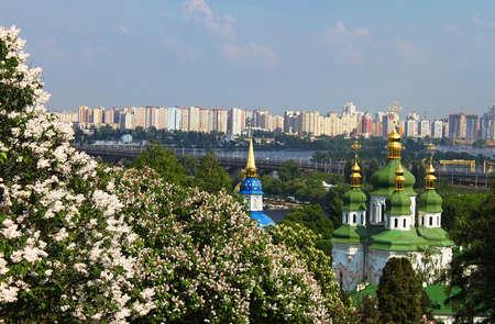 dome type: View of Vidubichi monastery and the city in May, Kiev, Ukraine