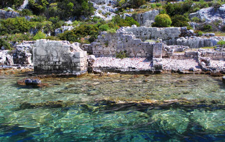 Sunken Lycian city on the Kekova island, Turkey Stock Photo