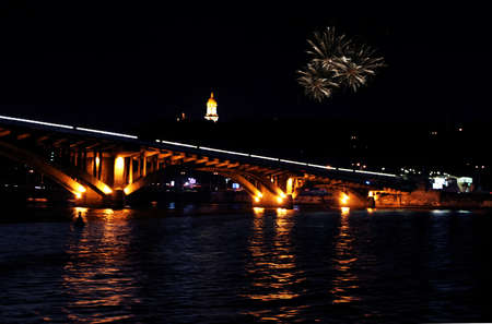 Evening Kiev - Bridges over the river Dnieper, Kievo-Pecherskaya Lavra and firework Editorial