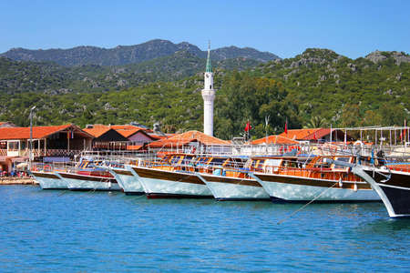 Moored yachts, near Kekova island, Turkey Stock Photo