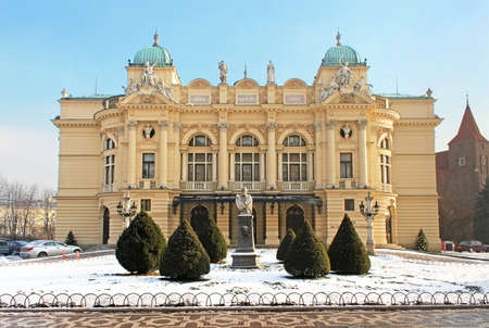 Theatre in Krakow, Poland, built in 1893, was modeled after some of the best European Baroque theatres in winter Stock Photo