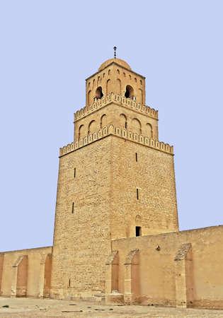 crenelation: Minaret of the Mosque of Uqba, Kairouan, Tunisia