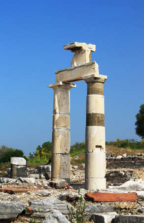 housed: The Prytaneion at Ephesus housed the sacred flame of Hestia and symbolized the heart of the city Stock Photo