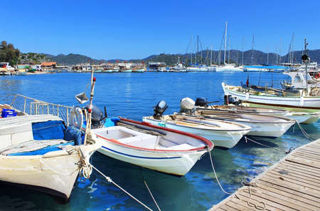 Boats and yachts, near Kekova island, Turkey Stock Photo