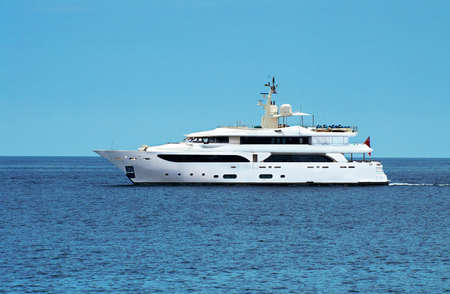 Large private motor yacht at sea Stock Photo