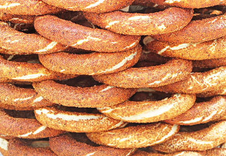 bagel: Simit - traditional turkish bagels Stock Photo