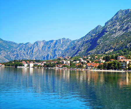 Beautiful landscape with mediterranean town - Kotor bay, Montenegro Stock Photo - 17017335