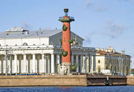 View of Saint Petersburg from Neva river. Rostral column. Russia Stock Photo - 17044556