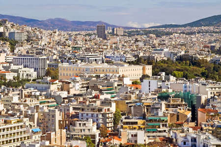 View of Athens with greek parliament in the center Stock Photo