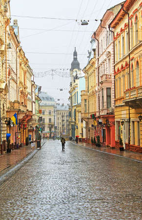 Kobylianska street in Chernivtsi, Ukraine in the rainy weather