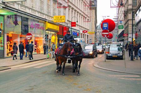 VIENNA, ASTRIA - DECEMBER 29: Rotenturmstrasse is decarated for New year celebration on December 29, 2007 in Vienna, Austria
