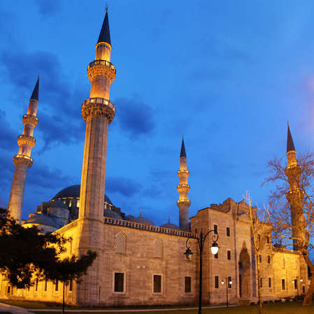 Suleymaniye Mosque night view, the largest mosque in Istanbul, Turkey