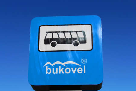 Bus stop sign in Bukovel resort in Carpathian mountains, Ukraine Editorial