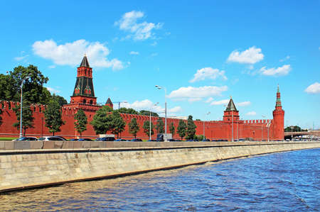 Moscow Kremlin and Moskva River in sunny day  Russia