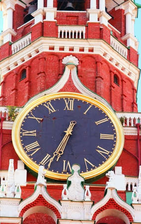 Kremlin chiming clock of the Spasskaya Tower  Moscow  Russia photo