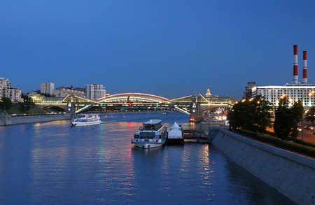moskva river: Bogdan Khmelnitsky  Kievsky  Pedestrian Bridge across Moskva River, Moscow, Russia