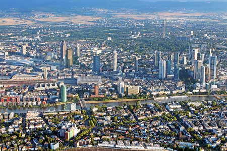 Panoramic view of Skyline Frankfurt Main, Germany from the plane photo