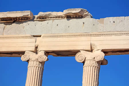 Ionic columns of the Erechtheion, Athens, Greece photo