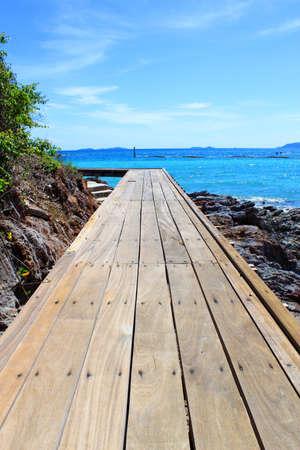 Wooden Bridge on Beautiful turquoise seascape of Koh Lan, Pattaya, Thailand