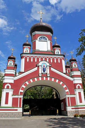 Gate to old orthodox church of Cathedral of St  Pantaleon or St  Panteleimon in Feofania, Kiev photo