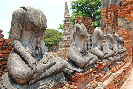Ruin of Buddha statues in Ayutthaya historical park, Thailand photo