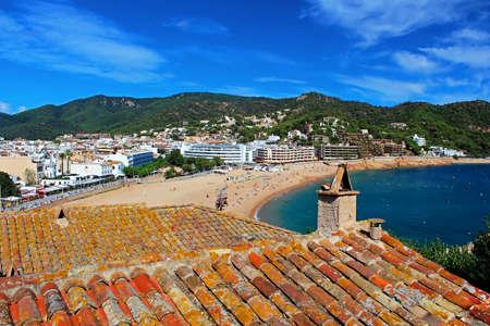 View of Tossa de Mar village from ancient castle, Costa Brava, Spain photo