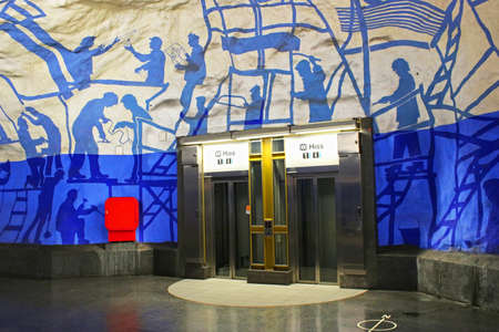 Elevators on T-Centralen station on the Blue Line, designed by Per Olof Ultvedt in 1975, in  Stockholm, Sweden Editorial