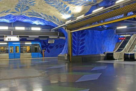 T-Centralen station on the Blue Line, designed by Per Olof Ultvedt in 1975, in  Stockholm, Sweden