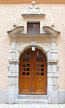 Beautiful wooden door, old architecture, Stockholm, Sweden photo