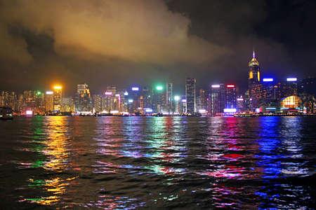 highriser: Night in Hong Kong Stock Photo
