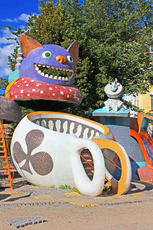 Alice in Wonderland playground in Picturesque Alley, Kyiv Editorial