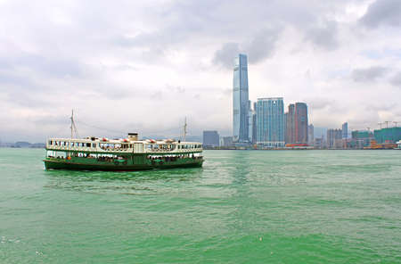 Touristic boat in Hong Kong Victoria harbour Editorial