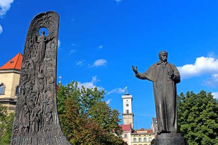 Monument to Shevchenko in Lviv, Ukraine photo