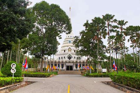 White temple in public temple Wat Yansangwararam, Pattaya, Thailand photo